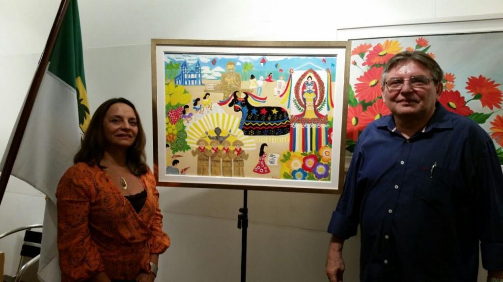 """Artista plástica do Rio de Janeiro, Maria Araújo,  doa quadro """"País é Mossoró"""", de sua autoria, à Fundação Vingt-un Rosado"""